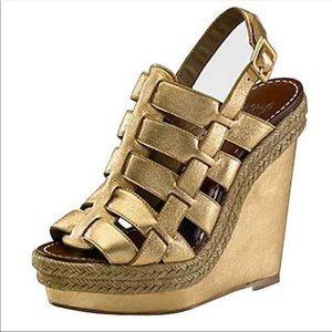 a220a411fc72 Christian Louboutin Shoes - Christian Louboutin Gold Barcelona wedge Sz 37